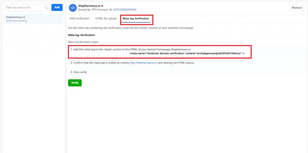 meta tag verification facebook manager